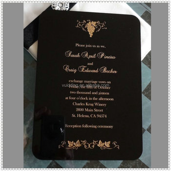 Personality Black Funeral Invitation Cards With Gold Engraving - Buy