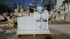 hand carving cheap white marble stone angel tombstone.angel stone headstone