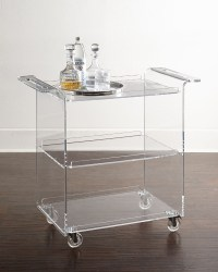 Clear Acrylic Bar Cart With 3 Shelves