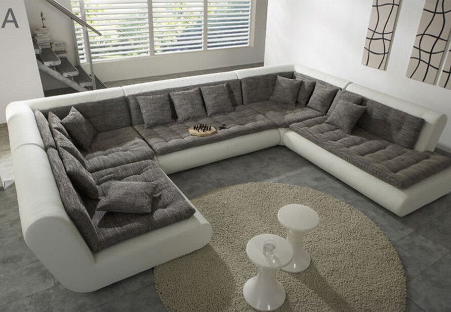 U Couch Modern U Shaped Sectional Sofa Fabric Leather Sofa Set New ...