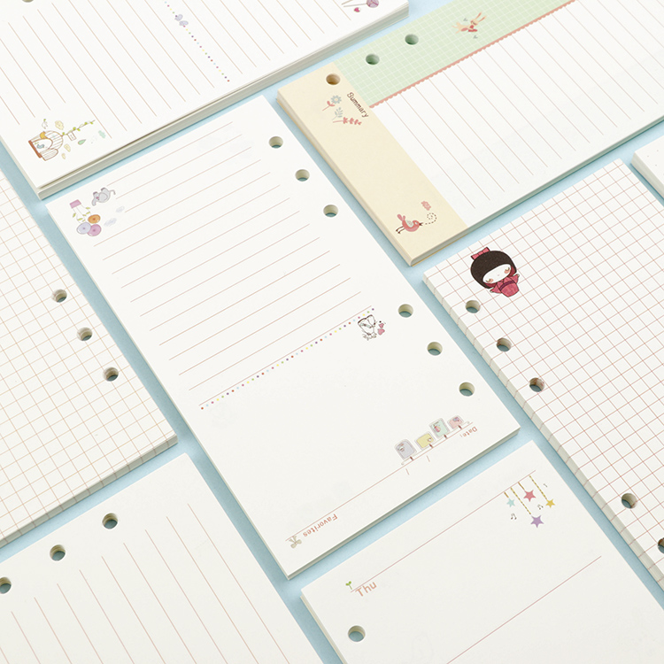 Free Sample Lined Paper Loose-leaf Notebook Refill Filofax A5 A6