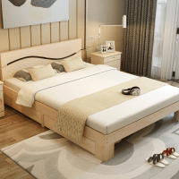 Latest Designs Simple Wooden Double Beds