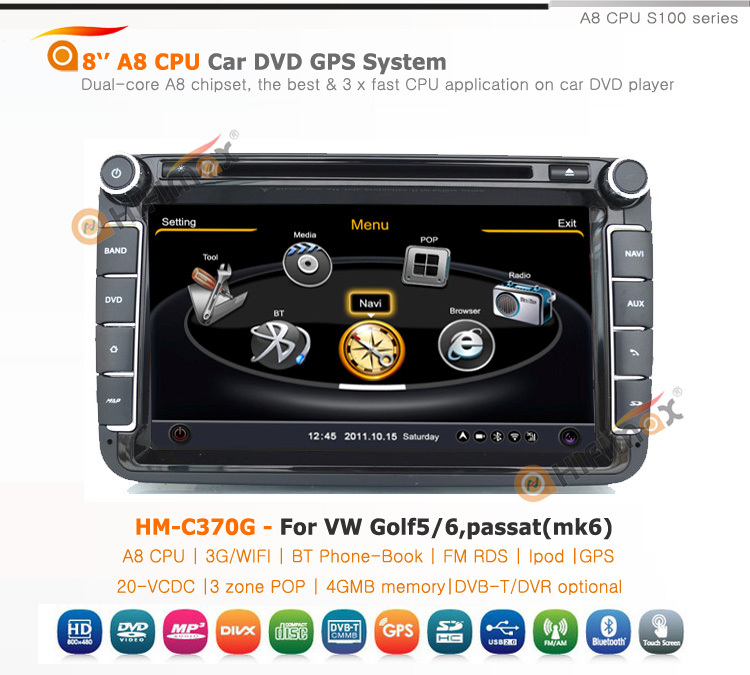 Hifimax 8 inch best touch screen car radio audio stereo for VW Golf