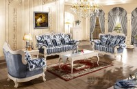 Turkish Style Golden Fabric Sofa Sets For Living Room
