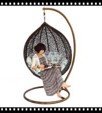 Black Rattan Swing Chair Hanging Chair / Rattan Egg Swing ...