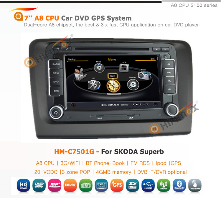 Hifimax Car Dvd Gps Navigation System For Skoda Superb With A8