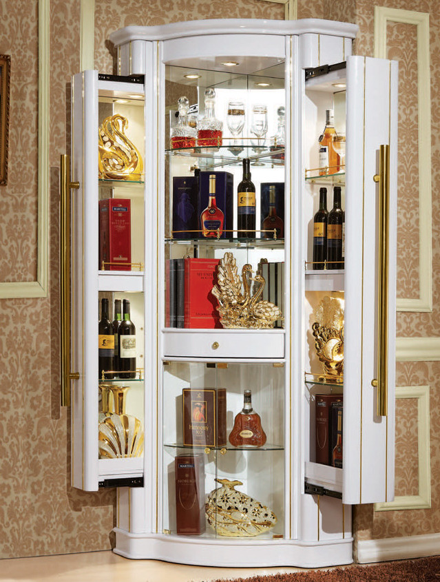 Living Room Furniture Boutique Style Solid Wood Glass Display - living room display cabinets