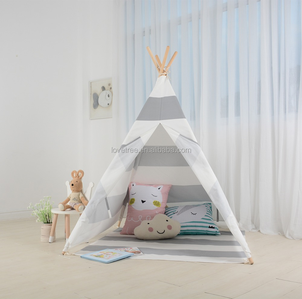 Teepee Kids Children Play Tent Cotton Canvas Kids Indian Teepee Tent Grey Stripe Buy Indian Cotton Striped Tent Grey Stripe Tent Teepee Tent Product On