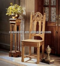 Hand Carved Gothic Chair,Antique Solid Light Oak Wood ...