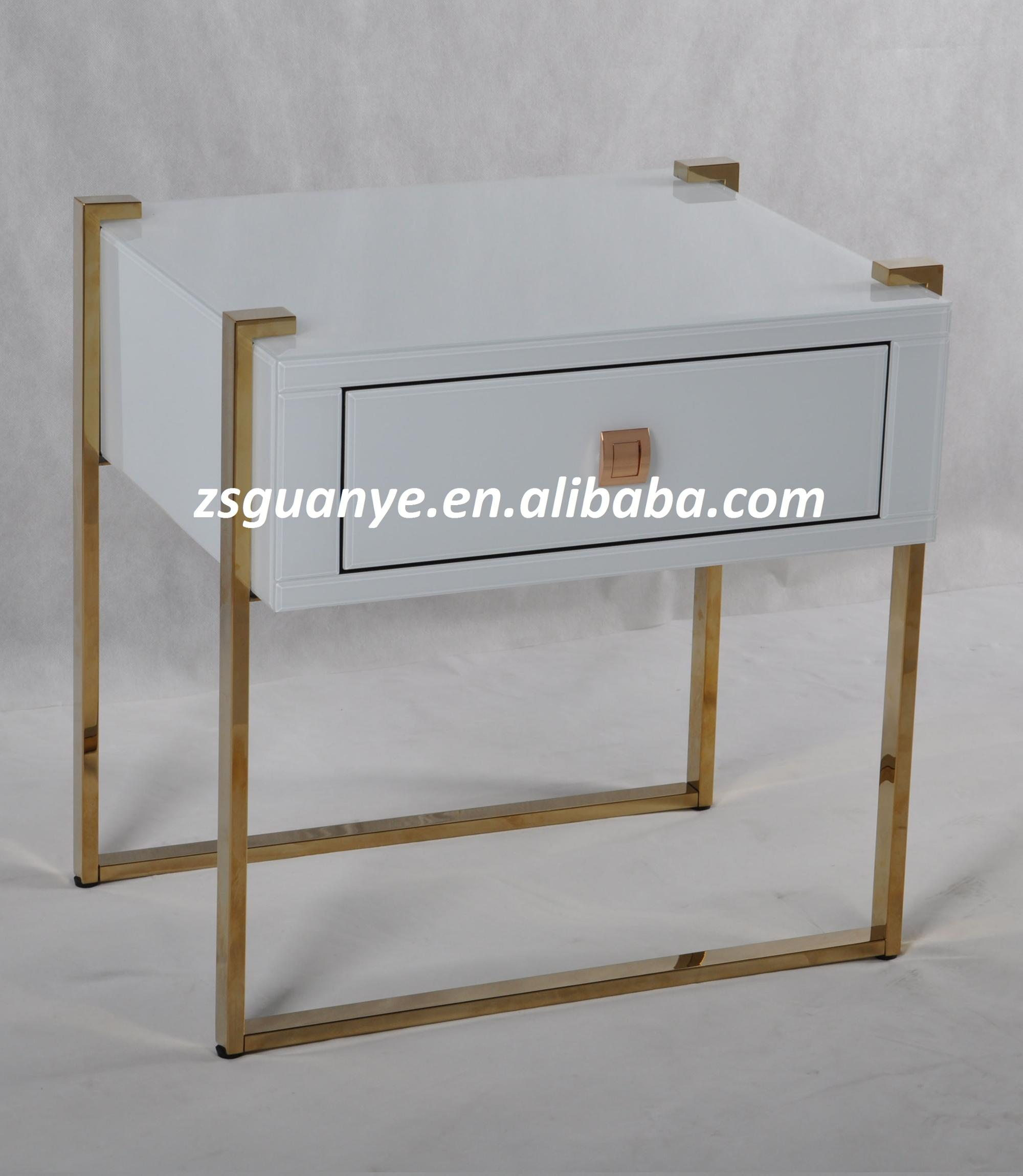 Metal Glass End Tables Gold Metal Leg White Glass Top Mirrored End Tables With Drawer Buy Bedroom Glass End Tables Mirror Nightstand Side Table Glass Top End Table Product