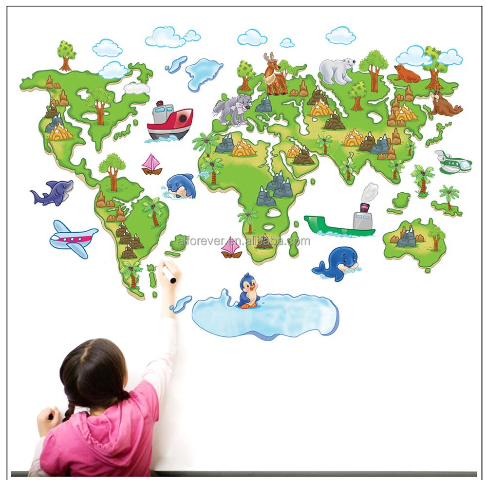 world map wall sticker world map sticker world map home decoration original labelled world map wall stickers