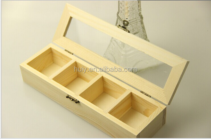 Clear Plastic Lid Wooden Storage Box With Dividers Acrylic