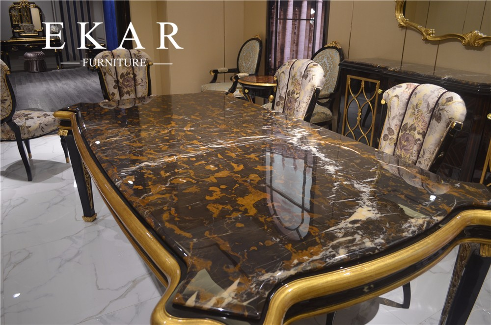 Foshan Long Royal Large Imported Marble Top Dining Table