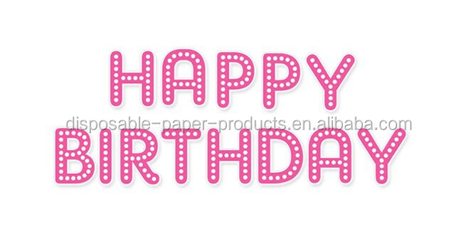 Pink Fabulous Happy Birthday Party Letter Banner Decoration Party