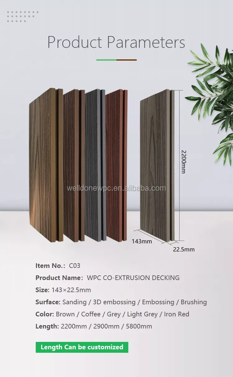 Wpc Balkonprofile Waterproof Outdoor Embossing Wood Grain Texture Composite Wpc Co Extrusion Decking Flooring Buy Solid Composite Decking Composite Decking Cheap