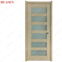 Frosted Wood Glass Bathroom Door Design