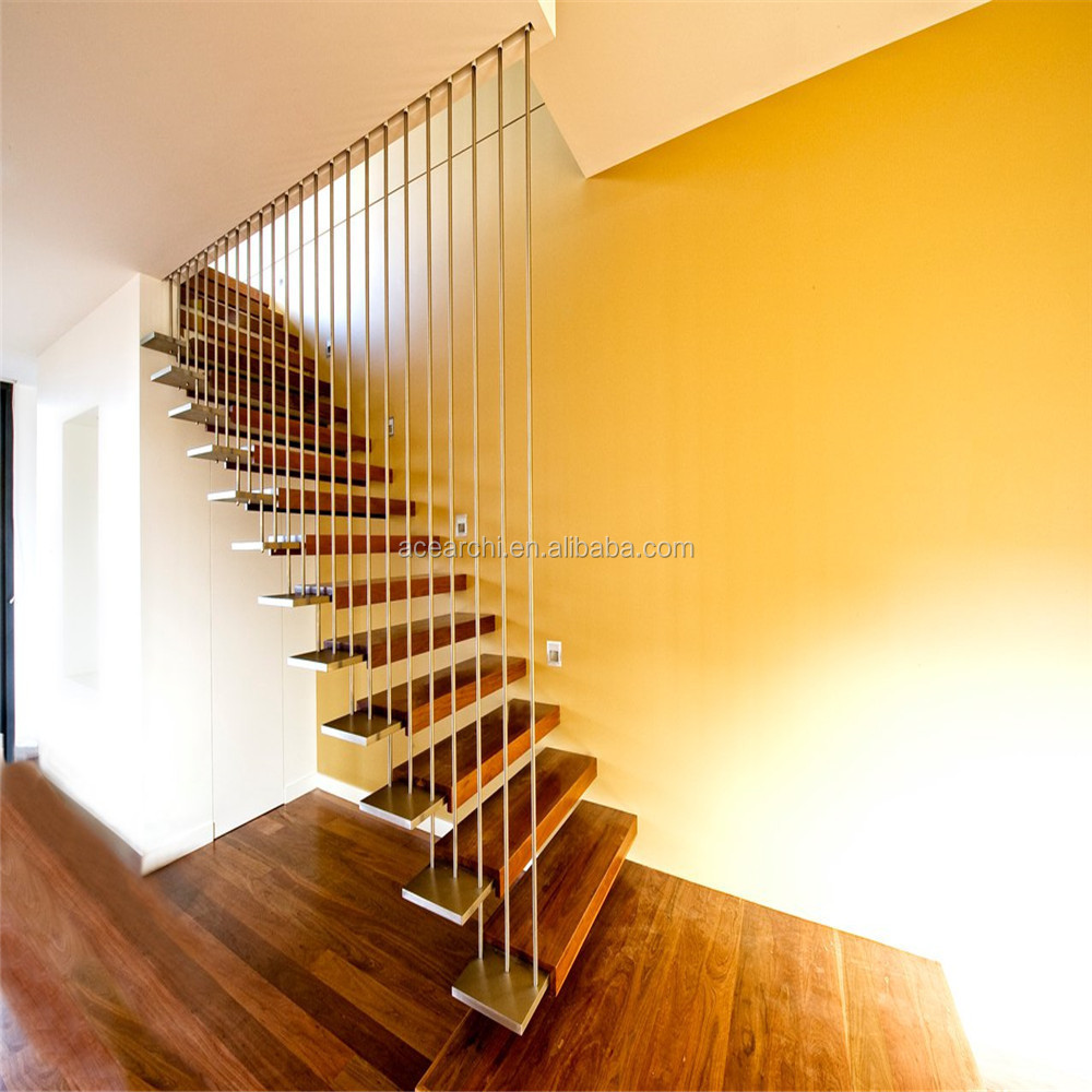 Open Staircase Design Modern Design Stainless Steel Cable Railing Floating Staircase With Open Riser Wood Step Buy Modern Steel Staircase Stainless Steel Floating