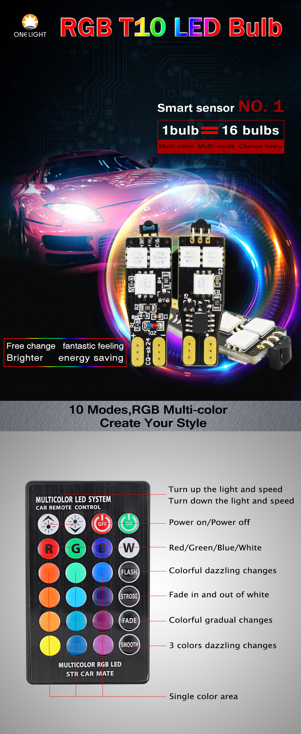 Auto Interieur Lamp Auto Styling Rgb Afstandsbediening Interieur Strobe Lichten Auto Led Lamp Rgb T10 194 W5w Kleur Veranderende T10 Led Lamp Buy Auto Styling Rgb