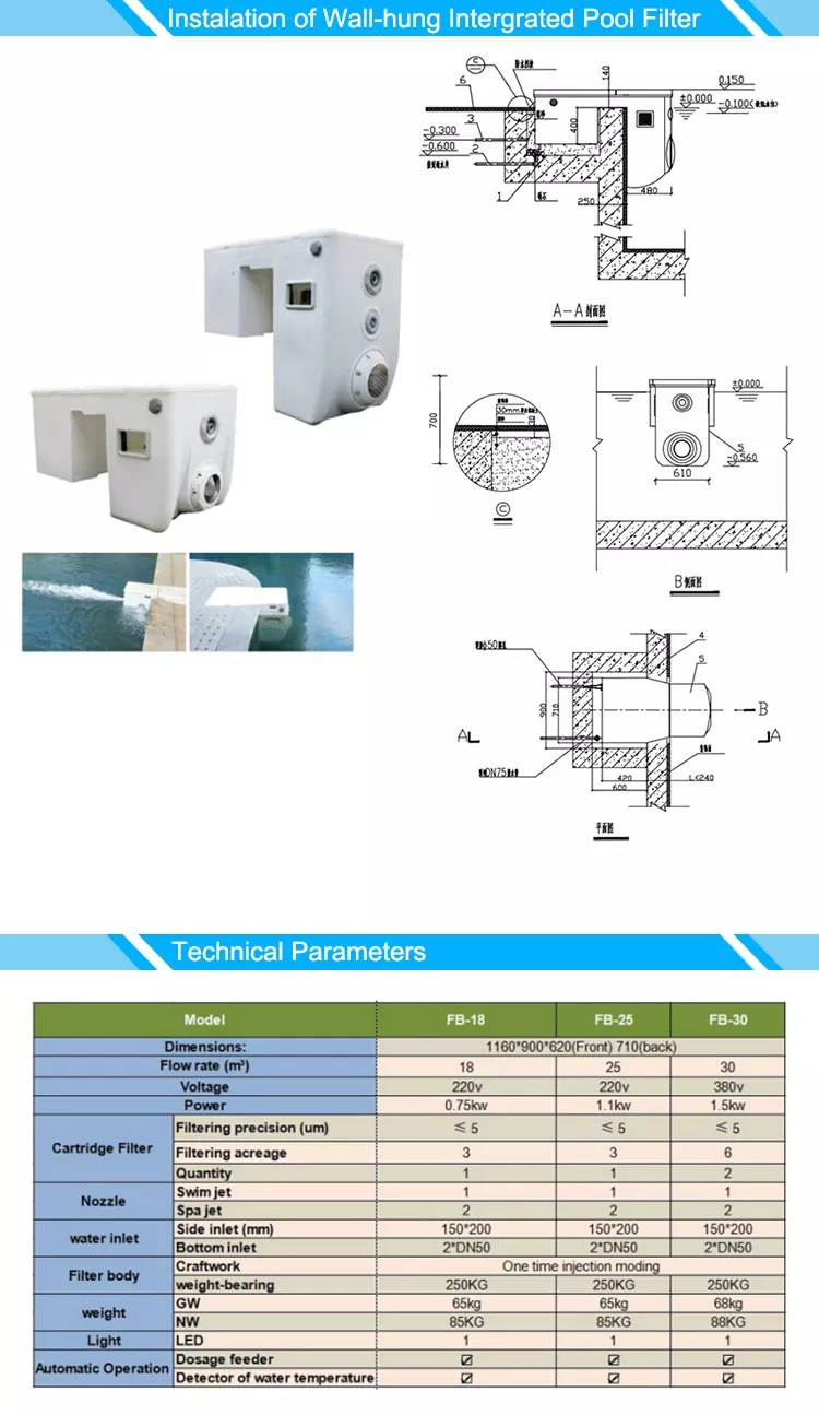 Pool Filteranlage Test China Factory Price Best Quality Swimming Wall Hung Pipeless Intergrated Pool Filter System View Pool Filter System Fussen Product Details From