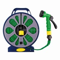 50ft Garden Flat Hose Pipe & Reel With Spary Nozzle Gun ...