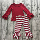 Boutique spring baby set girl casual cotton sets children pretty ruffle pants outfit