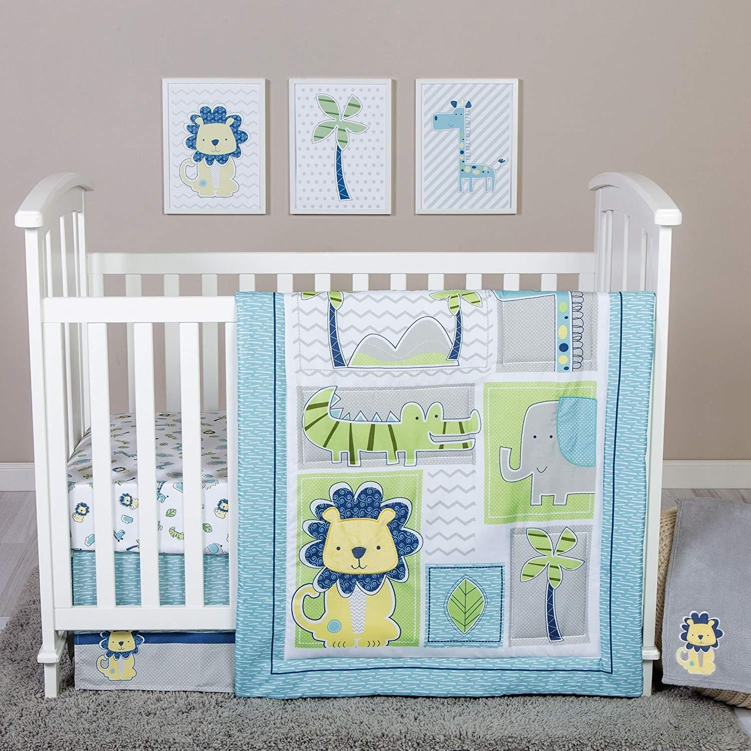 Patchwork Set Baby Buy 4 Piece Baby Boys Blue Green Yellow Jungle Crib Bedding