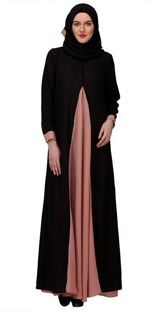 Wholesale Abaya Suppliers Women Abaya Models Dubai Black And Pink Front Open Long