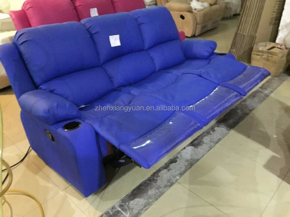 Sofa Upholstery Parts Blue Color Microfiber Leather Recliner Sofa/ Lazy Boy
