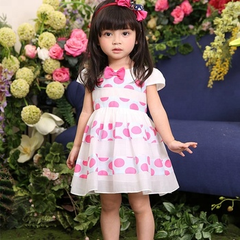 2018 Girls Pink Dot Children Boutique Dress 1-6 Years Old Baby Dress
