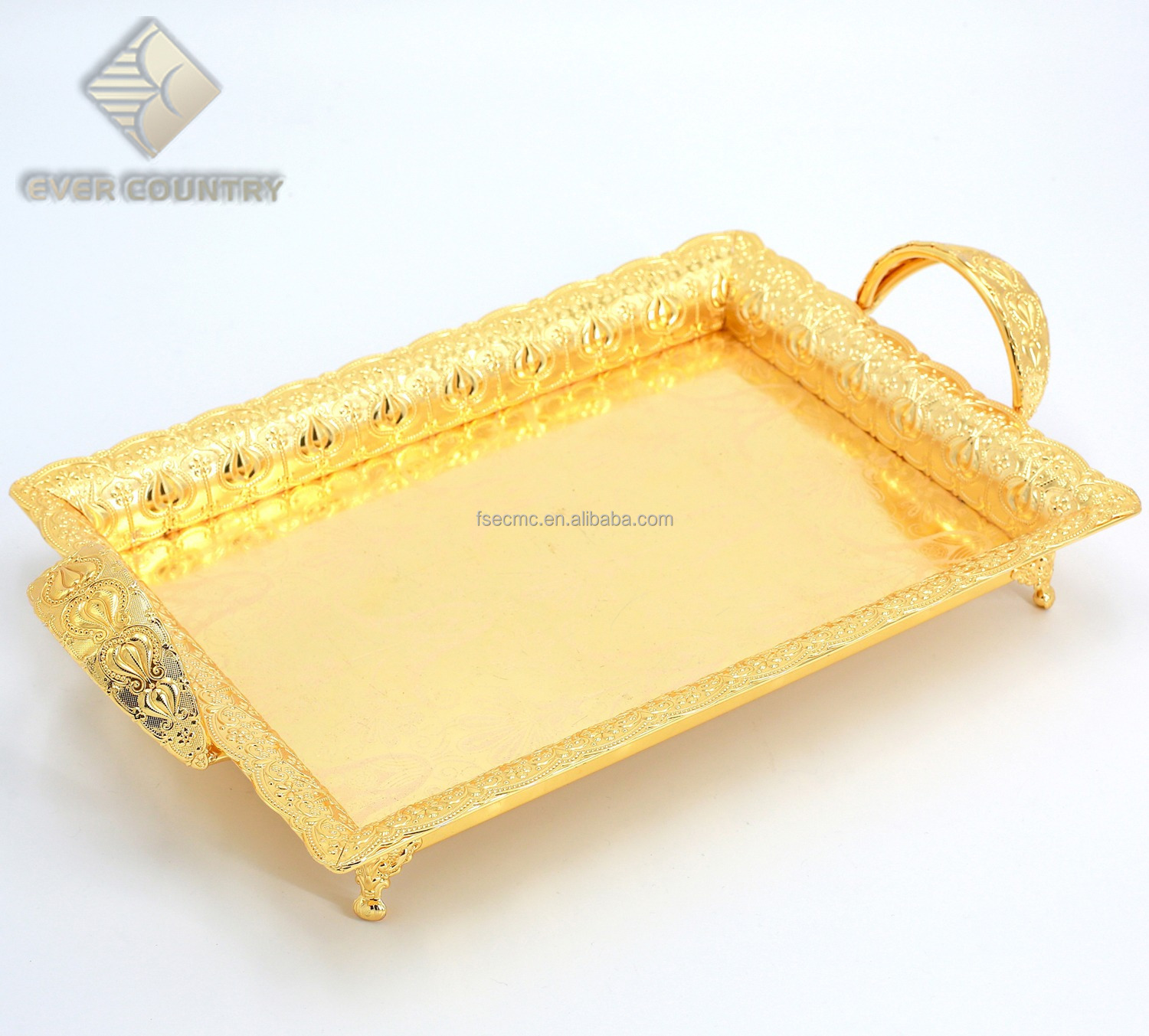 Gold Serving Tray Tulip Design Gold Plated 24 Inch Rectangle Metal Serving Tray With Handle Buy Tea And Coffee Set Chocolate Dish Silver Plated Plate Product On