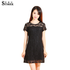 2017 New Design Summer Female O-neck Sleeveless Elegant black Lace Dress
