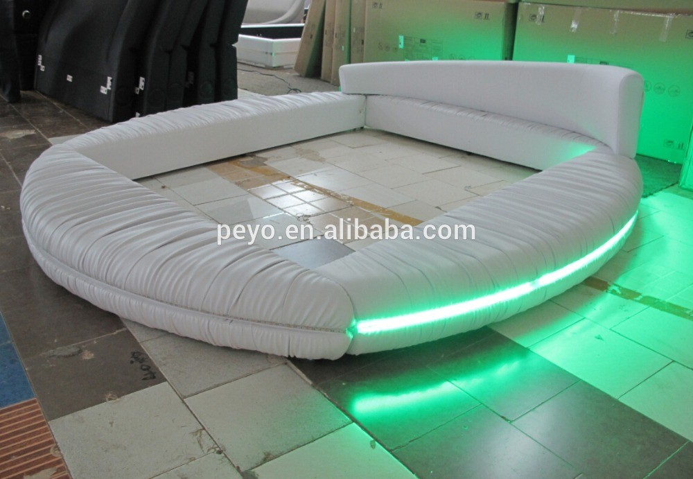 Meuble Design Metal 2016 White Modern Round Bed With Led Light Bedroom