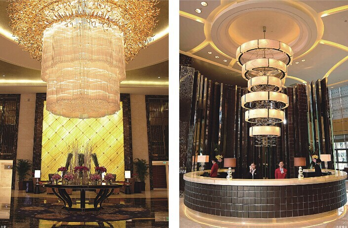 Application Decoration Hotel Big Luxury Banquet Hall Ceiling Chandelier Light