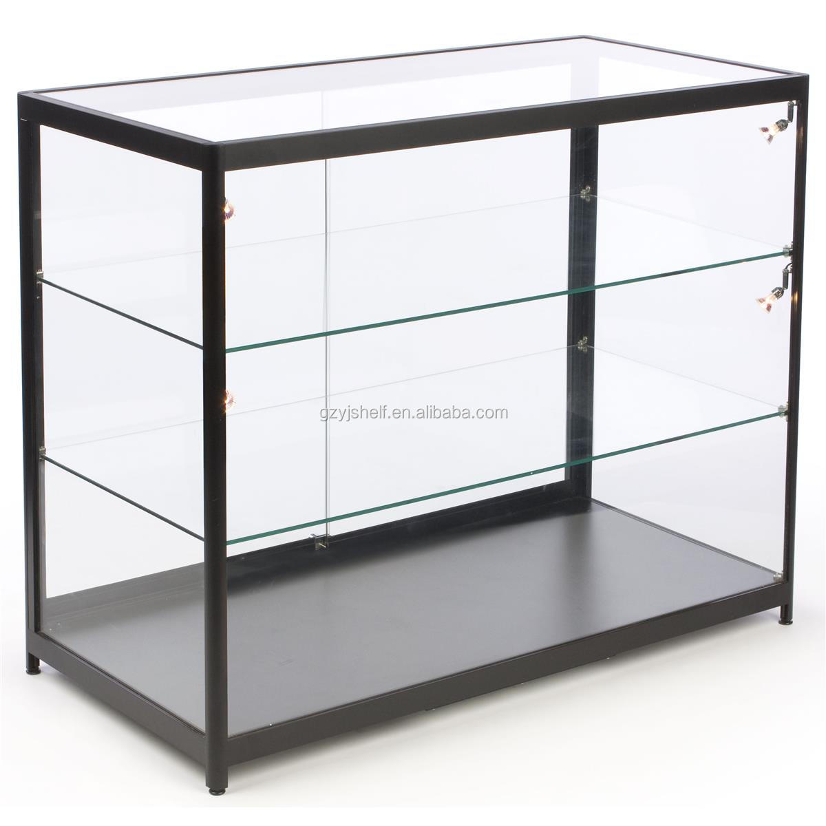 Glass Display Cabinet Rectangle Wooden Glass Jewelry Display Cabinet Glass