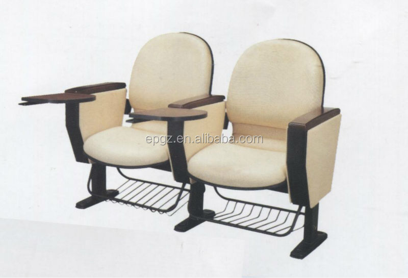 White Fabric Auditorium Chair Seating With Foot Plate And