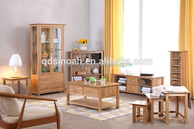 Oak Furniture Glass Display Cabinet Wooden Living Room Furniture - living room display cabinets