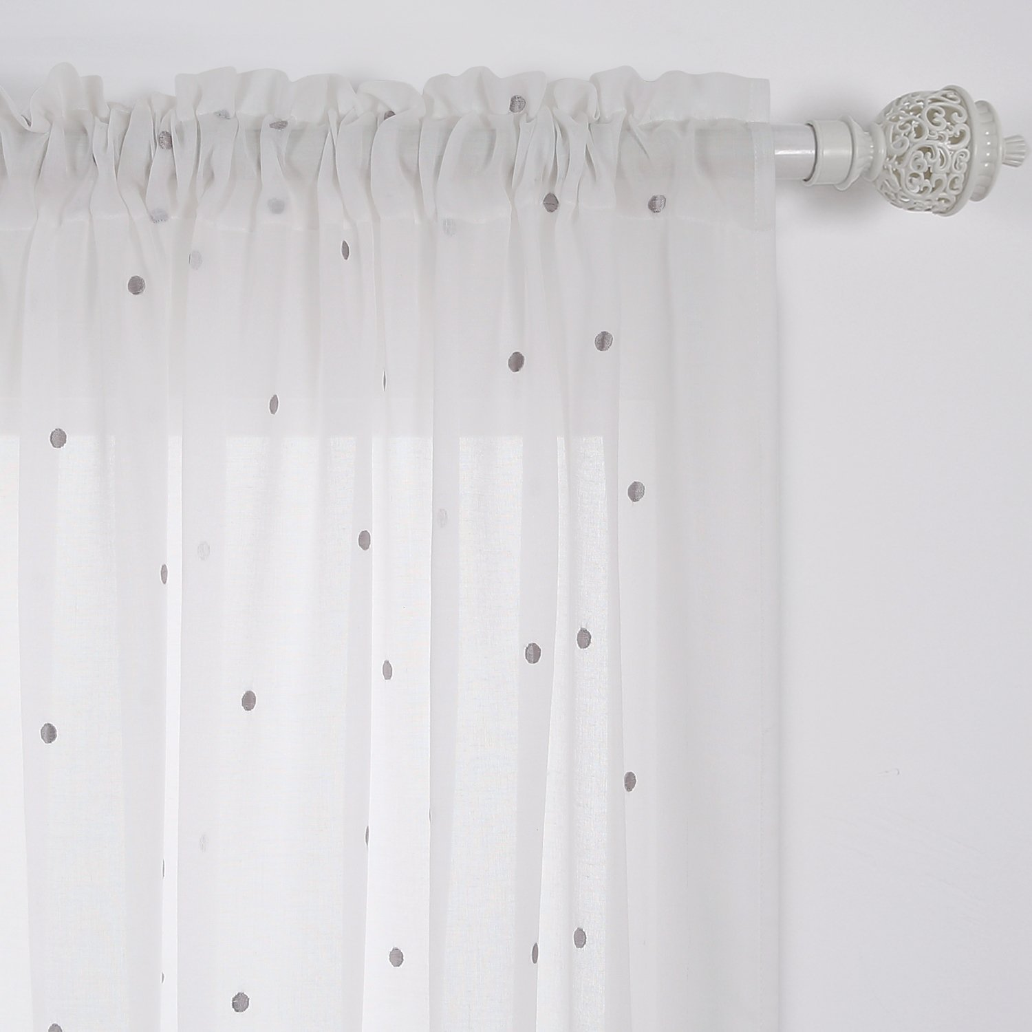 Cotton Curtain Panels Buy Deconovo Curtains Embroidered Grey Dot India White Cotton