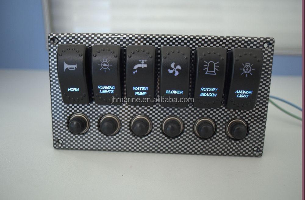 New Waterproof 6 Way Led Illuminated Rocker Switch Panel/marine