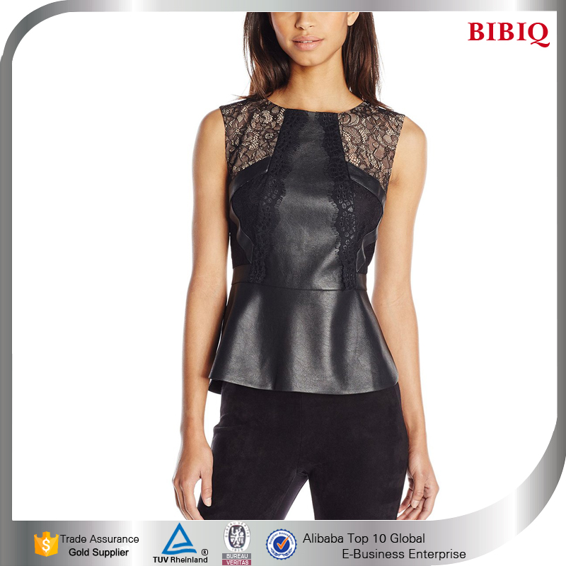 Sexy woman modern casual clothes elegant black leather corset tops