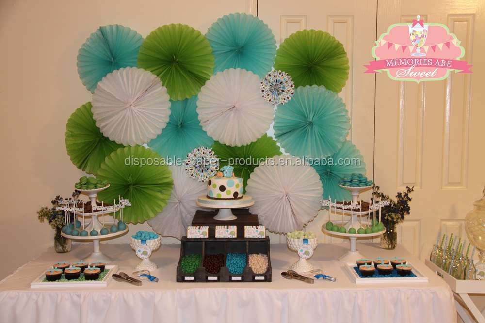 White Green Blue Hanging Tissue Paper Fans Garden Birthday Party - blue and green birthday party