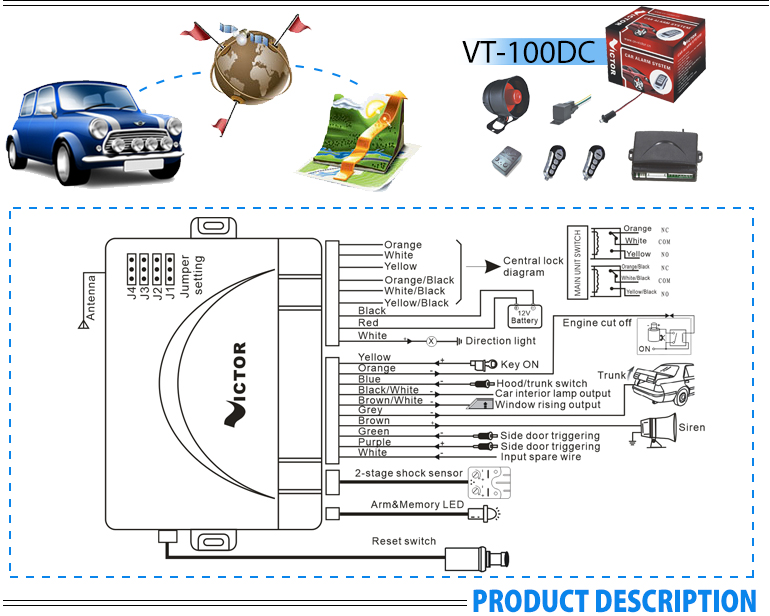 One way car alarm with built in central lock module for South