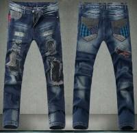 Europe Mainstream Biker Mens Jeans Pants Fitness Vintage ...