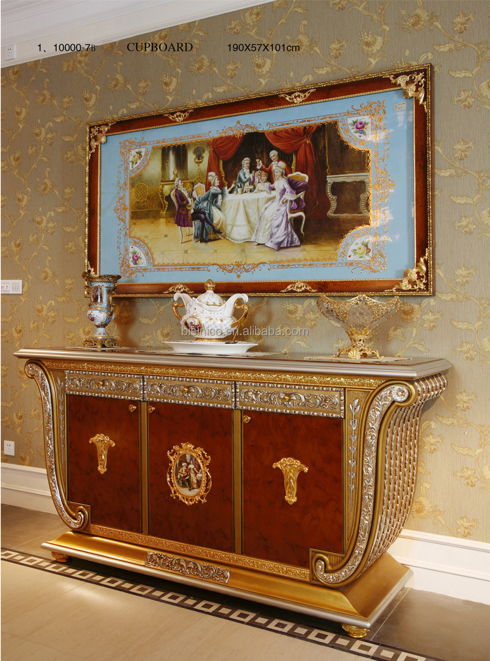 Sideboard 150 Luxury French Baroque Style Gold Leaf Sideboard With