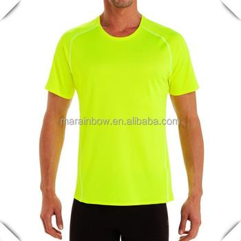 Popular High Quality Plain Safety Green T Shirts Design With Raglan