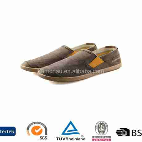Source trend model hot sell on line men dark brown slip on rubber sole business casual canvas sneakers shoes