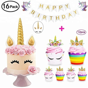 Easternhope Unicorn Cupcake Toppers Happy Birthday Banner Balloons