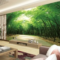 Home Living Room Tv Background 3d Bamboo Mural Thai Wall