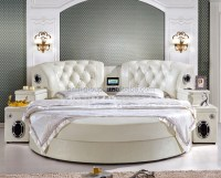 Mordern Leather Round Bed Hotel Musical Round Bed With ...