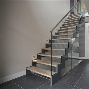 Glass Railing Zig Zag Stringer Straight Stairs Solid Wood