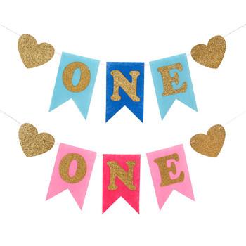 Blue Boy Pink Girl 1st Birthday Flags Chair Banner - Buy 1st Birthday